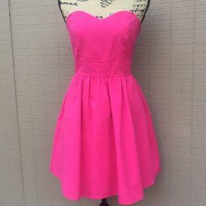 Sz M Lauren James Hot Pink Strapless Mini Dress